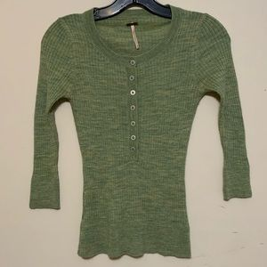 Free People Fitted Knit Sweater Shirt
